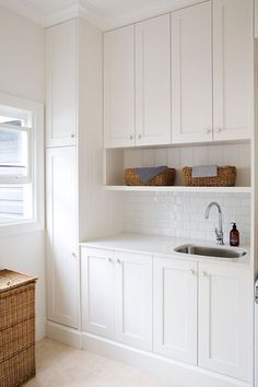 The laundry room is often an overlooked and overworked room in the home. It needs to be functional of course, but what about beautiful? Whether you have a small laundry closet or tiny laundry room,… Laundry Nook, Laundry Room Organization, Laundry In Bathroom, Cupboards, Ikea Laundry Room Cabinets, Laundry Closet, Upper Cabinets, Laundry Room Design, Kitchen Design