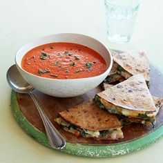 Tomato-Red Pepper Soup with Spinach Quesadillas