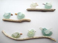 "Sea Glass Art: Perching Birds 8"" x 10"" (signed by artist)"