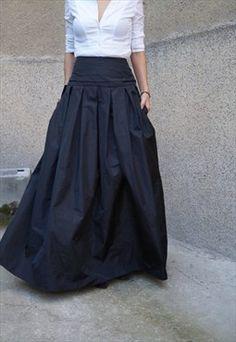 Maxi Skirt/High/Low Waist Skirt/Long Tafetta Skirt/F1190