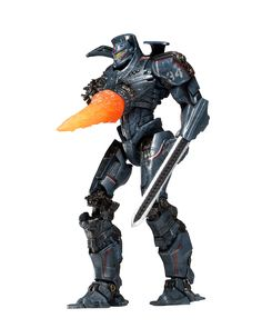 """NECA Pacific Rim Deluxe 7"""" Series 6 Reactor Blast Gipsy Danger Action Figure. Stands 7 inches tall. Over 20 points of articulation. Pacific Rim series 6 figures were created using the actual digital files utilized in the creation of the film. Reactor Blast Gipsy comes with chain-sword accessory and nuclear blast chest attachment."""