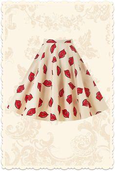 Jupe assiette rétro années 50 swing Lips rouge / crème - Vêtements/Jupes - Lady Vintage - missretrochic.com