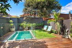 Great use of a tiny space Backyard including plunge pool, heated outdoor shower, BBQ Backyard Pool Designs, Swimming Pools Backyard, Small Backyard Landscaping, California Backyard, Small Pool Design, Backyard Renovations, Small Pools, Plunge Pool, Pool Houses