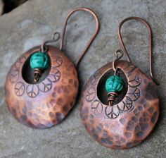 Oversized Peace and Hammered Teardrop Earrings in by ORRTEC, $24.00