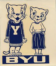 Brigham Young University  ORIGINAL 40's Cosmo Decal sticker vtg NCAA Cougars BYU