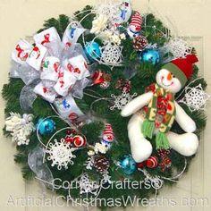 SNOWMAN WREATH | ArtificialChristmasWreaths.com | CHRISTMAS WREATHS