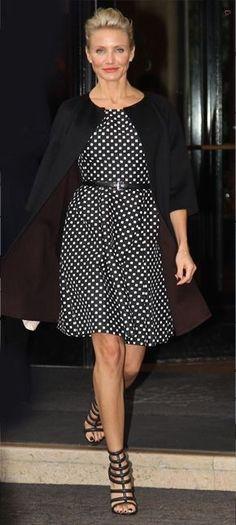 Cameron Diaz wearing polka dot dress... - Street Style