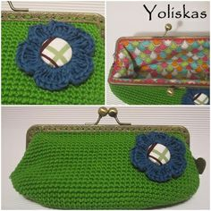 Funda gafas crochet con boquilla de metal Yoliskas, color verde oscuro