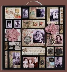 Mama ~ A printer's tray from Hobby Lobby was transformed into a memorial for a mother who was gone too soon. This interesting style could be easily adapted into a great heritage page.