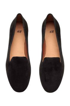 Loafers: Loafers in imitation suede with a grosgrain trim. Satin linings and insoles and rubber soles.