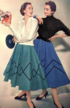 Two great geometric pattered felt circle skirts from, 1955.