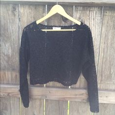 """Vintage Boxy Lace Top This vintage lace crop top is great for layering over dresses or worn alone for an on trend look! Length is 17"""" bust is 40.5"""" waist is 25"""" arm length from the top shoulder seam down is 20.5""""Very little stretch.  Make an Offer . Vintage Tops Crop Tops"""