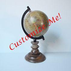 Customize Me World Globe Hand lettered Globe by theOceanBlueCo