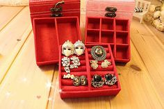 Red Jewelry Boxes Ring Storage Necklace Earring Ear Pin Organizer Case Display | eBay