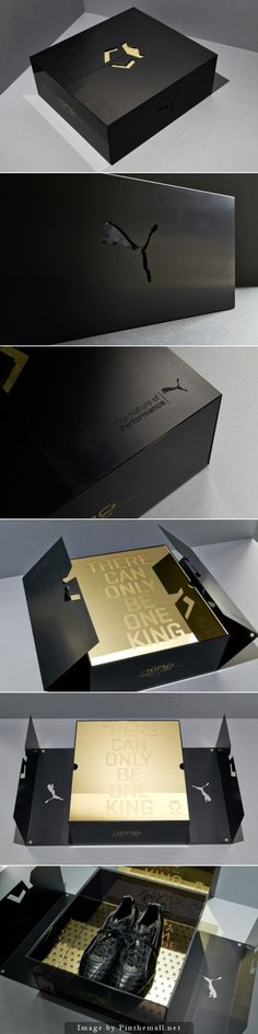 Packaging we like / Unpacking Moment / Black / Gold inside / Pattern / Footbal / at Puma King Lux Limited Edition packaging