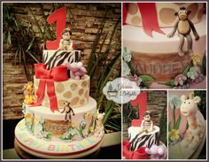 Jungle theme 1st birthday cake.   Follow me on Facebook www.facebook.com/glorious.delights