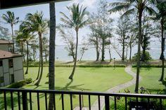 Balcony view at Pono Kai. A gorgeous walk to the beach! Pono Kai, Helicopter Tour, Kauai, Outdoor Pool, Snorkeling, Balcony, Natural Beauty, Golf Courses, Surfing