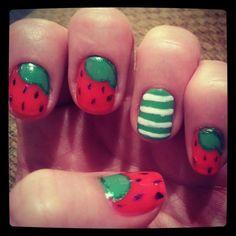 Strawberry shortcake nails