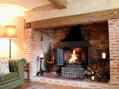 Good Images Brick Fireplace log burner Popular Church Steps still has its impressive inglenook fireplace Brick Fireplace Log Burner, Cottage Fireplace, Inglenook Fireplace, Farmhouse Fireplace, Living Room With Fireplace, Country Fireplace, Wood Stove Hearth, Fireplace Ideas, Cottage Living Rooms