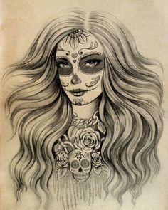 sugar skull Tattoos with long hair   sugar skull girl   Tumblr