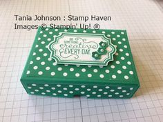 Tania Johnson : Stamp Haven, Independent Stampin' Up! Demonstrator, Onstage November 2017 Swap. #onstage2017 #loveitliveitshareit #one sheet box #treat #project #box #gift #3-D
