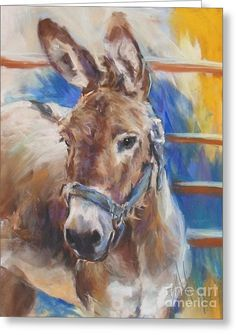 Blue Collar Donkey Greeting Card by Debbie Anderson