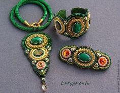 """Купить Комплект """" Императрица """" - зеленый, украшение, кулон, браслет, заколка для волос"""