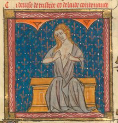 Roman de la Rose @RoseDigLib  ·   Then Sorrow – jaundiced and depressed hung listlessly and comfortless. #RoseRom Image from @ActuBnF fr 1560