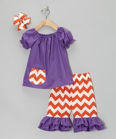 Take a look at this Purple & Orange Zigzag Capri Pants Set - Infant, Toddler & Girls by Molly Pop Inc. on #zulily today!