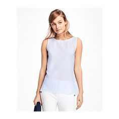Brooks Brothers Sleeveless Stripe Eyelet Embroidered Blouse (3,725 INR) ❤ liked on Polyvore featuring tops, blouses, sleeveless tops, brooks brothers, sleeveless blouse, embroidered top and stripe blouse