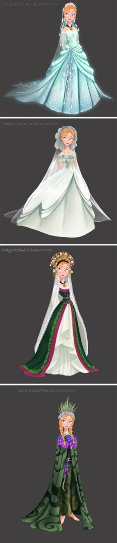 "wedding dress for Anna by *HeiligerShadowfax* ▲1-""Sky Awake"". I imagine this dress was made by Elsa with her magic for the sister's wedding… 2-""imperial"" 3-""folk"" norwegian bride's dress 4-Troll Wedding"