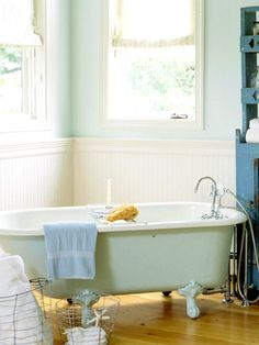 Relaxing Bath:   Claw-foot tubs offer instant cottage style in the bathroom. Check our salvage and antique stores to find a vintage tub in your area.
