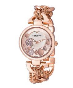 Rose Gold Diamond & Stainless Steel Chain Link Watch