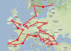 Train route around Europe. The website is also linked to the blog with the posts of all of the cities they visited.