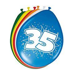 Gekleurde verjaardagsballonnen 35 jaar. Deze gekleurde ballonnen hebben een opdruk met het cijfer 35 en zijn verpakt per 8 stuks. Formaat: 30 cm.