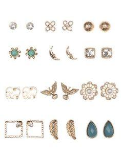 Mixed Boho Stud Earrings 12 Pack