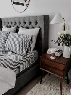 Restoration Hardware Alder Shelter Diamond Tufted Headboard $1,750 vs Joss and Main Drennen Upholstered Wingback Headboard $400 gray grey tufted linen headboard look for less copycatchic luxe living for less budget home decor and design daily finds and room redos #bedroom design