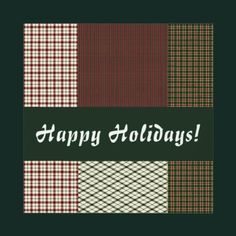 Flat square Happy Holidays Christmas cards