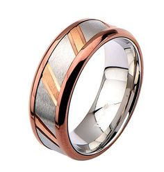 A shiny stainless steel IP Rose Gold wedding band is jazzed up with a decorative diagonal center design. Worn as an alternative wedding band or a fashion ring, this diagonal cut ring is certain to steal the show! Wedding Bands, Gold Wedding, Metal Jewelry, Rose Gold Plates, Fashion Rings, Gold Rings, Rings For Men, Jewelry Design, Stainless Steel
