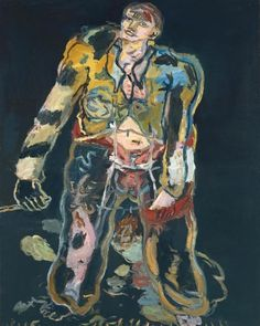Georg Baselitz 'Rebel', 1965 In the mid-1960s, Baselitz embarked on a series of paintings depicting giant male figures, which he described as 'rebels', 'shepherds' or 'new types'. Rebel can be seen within the tradition of the Romantic partisan - a hero and outsider often associated with the figure of the artist. The implement in his right hand may be a flagpole or paintbrush. In contrast to the triumphant warriors of the past, this is the wounded and dishevelled anti-hero of today.