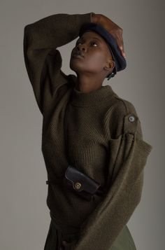 VINTAGE ISSEY MIYAKE SWEATER - Wool knit sweater with split shoulder detail and buttoning epaulettes