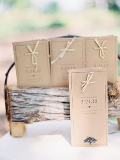 kraft paper wedding programs / http://www.himisspuff.com/kraft-paper-wedding-decor-ideas/12/