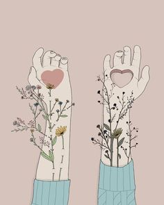 True love can make your heart flourish. Illustration by Pietro Tenuta (@maniacodamore) #youlightupmyworld #flowers #inlove #believeinlove #illustration #beautifulfeelings #loveis #choicepicks