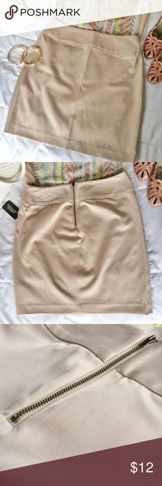 NWT Neutral Beige / Light Tan Short Skirt Light tan / khaki colored pencil skirt. New with tags. (You can also find the purse, heels, necklace & bangles in the cover shot listed in my closet.) ➡️Comes from a smoke-free & pet-free home. ✨Feel free to peruse my closet, BUNDLE & SAVE. Love the item, but not the price?✨Make an offer.✨Happy Poshing!✨ - @leoshmore  Forever 21 Skirts