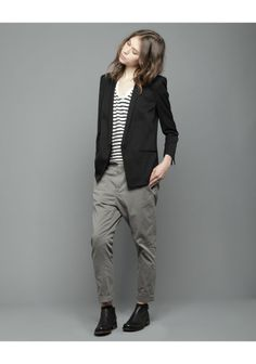 Love the stripes and blazer and dark palette