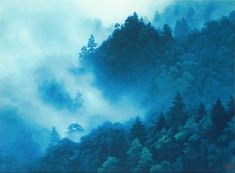 Clouds Rising in the Mountains, lithograph by Kaii HIGASHIYAMA Japanese Mountains, Mountain Art, Mountain Paintings, Painting Gallery, Art Academy, Japanese Painting, Japanese Prints, Japan Art, Hanging Art