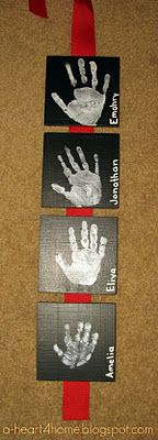 "Hand Print Wall Hanging (Made this for my husband for Day 4 of the 12 Days of Christmas: ""Four Tiny Hand Prints"""
