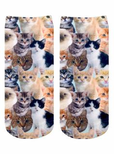 Ribbed stretch band at the top seamed toe and unisex sizing. Printed on one side only. Measures: L x W Kitties Ankle Socks Accessories - Socks Canada Kittens Cutest, Cats And Kittens, Cute Cats, Kitty Cats, Funny Cats, Crazy Cat Lady, Crazy Cats, Sock Animals, Cute Animals