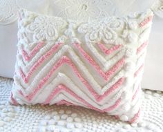 PINK CHEVRONS vintage chenille pillow cover
