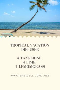Try this relaxing essential oil blend for a home tropical vacation Essential Oils Guide, Essential Oil Uses, Doterra Essential Oils, Young Living Essential Oils, Essential Oil Combinations, Essential Oil Perfume, Essential Oil Diffuser Blends, Photoshop, Tropical